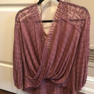 Free People Lace Open Back Blouse